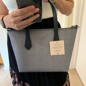 KATE SPADE GLITTER JOELEY SMALL SATCHEL DUSK NAVY